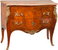 Furniture : French, A Louis XV-Style Walnut Commode with Marble Top, 19th century. 36 h x 44 w x 19-1/4 d inches (91.4 x 111.8 x 48.9 cm). ...