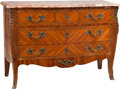 Furniture : French, A Louis XV-Style Three Drawer Commode with Marble Top. 33-3/4 h x 48 w x 19-1/2 d inches (85.7 x 121.9 x 49.5 cm). ... (Total: 2 Items)