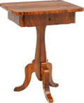 Furniture : Continental, A Biedermeier Inlaid Walnut Work Table, early 19th century. 30-7/8h x 23-3/4 w x 20 d inches (78.4 x 60.3 x 50.8 cm). PRO... (Total:2 Items)