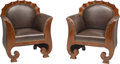 Furniture : Continental, Four Austro-Hungarian Biedermeier Mahogany and Leather Scalloped Bergères, second quarter 19th century. 38 h x 32 w x 23-1/2... (Total: 4 Items)