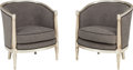 Furniture : French, A Pair of Hollywood Regency-Style Silvered Bergères. 32-1/8 h x 27w x 26-1/2 d inches (81.6 x 68.6 x 67.3 cm). PROPERTY F... (Total:2 Items)