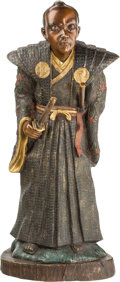Asian:Japanese, A Meiji-Style Cold-Painted Bronze Figure of a Samurai. 38-1/2inches high (97.8 cm). ... (Total: 2 Items)