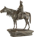 , Continental School (20th Century). Man on Top of Horse.Bronze on brown patina. 23 inches (58.4 cm) high. Inscribed on b...