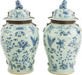 Asian:Chinese, A Large Pair of Chinese Blue and White Porcelain Covered Tea Jars.26-1/2 inches high x 14 inches diameter (67.3 x 35.6 cm)... (Total:2 Items)