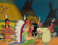 Animation Art:Production Cel, Peter Pan Peter and Tiger Lilly Production Cel and MasterProduction Background (Walt Disney, 1953). ...