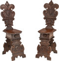 Furniture , A Pair of Renaissance Revival-Style Carved Walnut Hall Chairs. 43 h x 12-1/2 w x 17 d inches (109.2 x 31.8 x 43.2 cm). ... (Total: 2 Items)