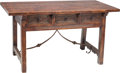 Furniture , A Spanish Baroque-Style Three Drawer Trestle Table. 30 h x 56-1/2 w x 28-1/2 d inches (76.2 x 143.5 x 72.4 cm). ...