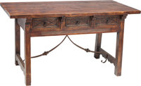 A Spanish Baroque-Style Three Drawer Trestle Table 30 h x 56-1/2 w x 28-1/2 d inches (76.2 x 143.5 x 72.4 cm) <...