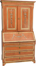 Furniture : English, An English Painted Pine Secretary in the Louis XVI Taste, 19th century. 80 h x 45-1/4 w x 22 d inches (203.2 x 114.9 x 55.9 ...