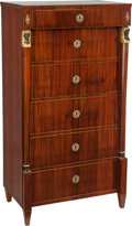 Furniture : Continental, An Early Neoclassical Biedermeier Six Drawer Mahogany Chest, early 19th century. 54 h x 29-1/4 w x 17-3/4 d inches (137.2 x ... (Total: 2 Items)