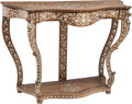 Furniture : Continental, An Indo-Persian Rococo-Style Walnut and Mother-of-Pearl Console,19th century. 34-5/8 h x 50 w x 19-1/2 d inches (87.9 x 127...