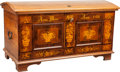 Furniture : Continental, A Large Biedermeier Marquetry Wedding Chest. 28-1/2 h x 51-1/4 w x25 d inches (72.4 x 130.2 x 63.5 cm). PROPERTY FROM THE... (Total:2 Items)