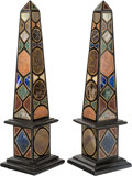 Decorative Arts, Continental:Other , A Pair of Grand Tour-Style Marble and Mineral Specimen Obelisks.21-1/2 inches high (54.6 cm). ... (Total: 2 Items)