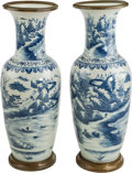 Asian:Chinese, A Pair of Large Chinese Blue and White Porcelain Floor Vases.39-1/2 inches high (100.3 cm). ... (Total: 2 Items)