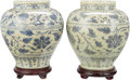 Asian:Chinese, A Pair of Chinese Blue and White Porcelain Jars on Carved Wood Stands . 12-1/2 inches high (31.8 cm) (jar). 14-1/2 inches hi... (Total: 4 Items)