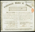 Confederate Notes:Group Lots, Ball Page 280-81 (2nd Edition) Cr. 175 $50,000 National SafeDeposit Company, Limited Scrip Certificate for ConfederateBondho...