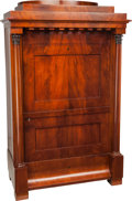 Furniture : Continental, A German Neoclassical Biedermeier Faux Secretaire Mahogany Armoire,Berlin or Brandenburg, Germany, circa 1825. 72 h x 46 w ... (Total:2 Items)