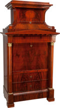 Furniture : Continental, A Large and Important North German Biedermeier Mahogany Fall-Front Secretary, circa 1815. 84 h x 44-1/2 w x 25 d inches (213... (Total: 4 Items)