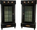 Furniture : Continental, A Pair of Austrian Biedermeier Glazed and Ebonized Wood Vitrines,circa 1825. 68 h x 34 w x 17 d inches (172.7 x 86.4 x 43.2...(Total: 4 Items)