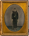 Photography:Ambrotypes, Civil War ½-Plate Ambrotype of a Private in the Orleans GuardBattalion Louisiana Infantry Identified as Octane Fellon....