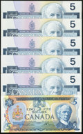 Canadian Currency: , Canada $5s.. ... (Total: 6 notes)