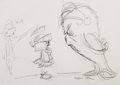 Animation Art:Production Drawing, Duck Dodgers, Marvin the Martian, and Gossamer Sketch by Chuck Jones (Warner Brothers, c. 1990s). ...