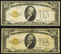 Small Size:Gold Certificates, Fr. 2400 $10 1928 Gold Certificates. Two Examples. Fine or Better.. ... (Total: 2 notes)