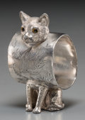 Silver Holloware, American:Napkin Rings, An American Silver-Plated Figural Cat Napkin Ring, late 19thcentury and later. 3-1/4 inches high (8.3 cm). ...