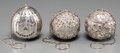 Silver Holloware, American:Tea Strainer, Three American Silver Tea Balls, late 19th-early 20th centuries.Marks: STERLING, (various). 6 inches high (15.2 cm) (ea...(Total: 3 Items)