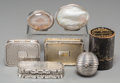 Silver Smalls:Snuff Boxes, Seven Various Silver, Glass, and Mixed Media Snuff Boxes andVinaigrettes, late 18th century and later. Marks: (various). 1-...(Total: 7 Items)