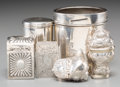 Silver Smalls:Cigarette Cases, Six Various English and Continental Silver Smalls, 18th century andlater. 3-1/4 inches high x 2-7/8 inches diameter (8.3 x ... (Total:6 Items)