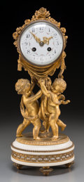 Decorative Arts, French:Other , A Louis XVI-Style Gilt Bronze Figural Mantel Clock, 19th century.16-1/4 inches high (41.3 cm). ... (Total: 2 Items)
