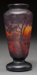 Art Glass:Daum, A Daum Overlay and Mottled Glass Landscape Vase, Nancy, France,circa 1910. Marks: DAUM, NANCY, (Cross of Lorraine). 6-3...