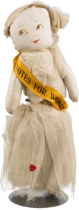 """Political:3D & Other Display (1896-present), Woman's Suffrage: Charming """"Votes For Women"""" Doll...."""