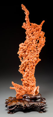 A Large Chinese Carved Coral Group, 20th century 27-1/4 inches high (69.2 cm) (excluding base) 4 kg 42 g