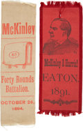 Political:Ribbons & Badges, William McKinley: Two Scarce Pre-Presidential Campaign Ribbons from Ohio....
