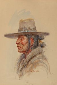 Joe Beeler (American, 1931-2006) Navajo Man Watercolor on board 14 x 10 inches (35.6 x 25.4 cm)
