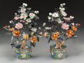 Asian:Chinese, A Pair of Chinese Hardstone and Cloisonné Potted Trees. 17 incheshigh (43.2 cm) (approximate, each). ... (Total: 2 Items)