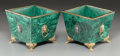 Decorative Arts, Continental:Other , A Pair of Malachite and Gilt Bronze Squared Jardinières. 7-1/4 h x8-1/4 w x 8-1/4 d inches (18.4 x 21.0 x 21.0 cm). ... (Total: 2Items)