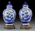 Asian:Chinese, A Pair of Chinese Blue and White Peking Glass Covered Jars. 10-1/4inches high (26.0 cm). ... (Total: 4 Items)