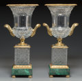 Decorative Arts, Continental:Other , A Pair of Cut-Glass and Gilt Bronze Mounted Campana Urns onMalachite Veneered Bases. 17-3/8 inches high (44.1 cm). ... (Total:2 Items)