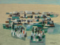 Fine Art - Work on Paper, Marcel Mouly (French, 1918-2008). Le Dou'ar, 1954. Gouacheon paper. 19-1/2 x 25-1/2 inches (49.5 x 64.8 cm) (sheet). Si...