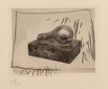 Fine Art - Work on Paper:Print, Jasper Johns (b. 1930). Light Bulb, from 1st etchings,2nd state, 1967-69. Intaglio on Auvergne a la Main paper.3-3...