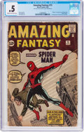 Silver Age (1956-1969):Superhero, Amazing Fantasy #15 (Marvel, 1962) CGC PR 0.5 Cream to off-whitepages....