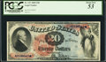 Large Size:Legal Tender Notes, Fr. 127 $20 1869 Legal Tender PCGS About New 53.. ...