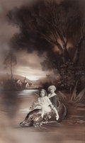 Photographs, Paul Le Boyer (1861-1952). Untitled (Two young girls riding on the back of an oversized, painted fish), circa 1915. Gela...