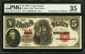 Large Size:Legal Tender Notes, Fr. 89m* $5 1907 Mule Legal Tender PMG Choice Very Fine 35.. ...