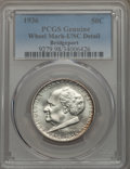 1936 50C Bridgeport -- Wheel Mark -- PCGS Genuine. UNC Details. NGC Census: (0/3112). PCGS Population: (7/5259). CDN: $1...
