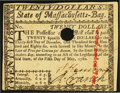 Colonial Notes:Massachusetts, Massachusetts May 5, 1780 $20 Hole Cancel Choice About New.. ...