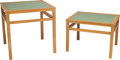 Furniture , Edward Wormley for Drexel Silver Elm and Pale Green Leather Nesting Tables, mid-20th century. 28-1/4 h x 28 w x 28 w inches ... (Total: 2 Items)